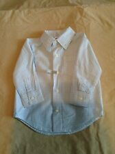 Pre-Owned Gymboree Light Blue/White Front-Button Check Shirt, Size 12-18 Months
