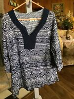 Cato Woman Size 18 20 Navy & White V Neck Print Rayon Blouse Top