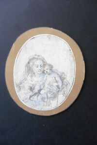 FRENCH SCHOOL 17thC - THE MADONNA AND CHILD C'CLE MIGNARD - REFINED INK DRAWING