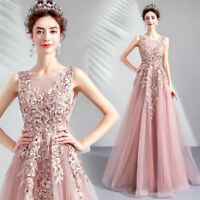 Womens Wedding Party A Line Long Dress Mesh Lace Floral Elegant Prom Bridemaid