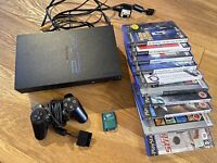 PS2 PlayStation 2 Black Console Bundle 10 Games Controller Memory Card TESTED