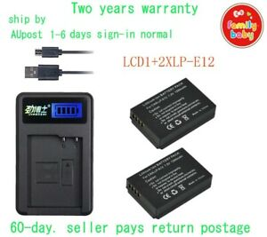 2xBattery LP-E12 LPE12 +USB LCD1 Charger for Canon 100D Rebel SL1 camera By AU