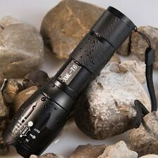 E17 Touch Cree XM-L T6 2000 Lumen XML LED Outdoor Go Hiking Flashlight Zoomable