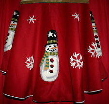 "RED CHRISTMAS TREE SKIRT 50"" LINED SNOWMAN SNOWFLAKES HOLIDAY TREE SKIRT NEW"