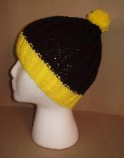 Handmade Knit Hat/Beanie - Black & Yellow beanie