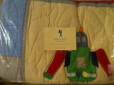 Pottery Barn Kids ROBOTS Full Queen patchwork QUILT boys NEW