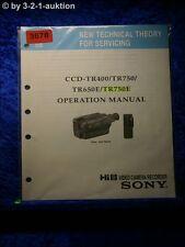 Sony Operation Manual CCD TR400 /TR750 /TR650E /TR750E (#3678)