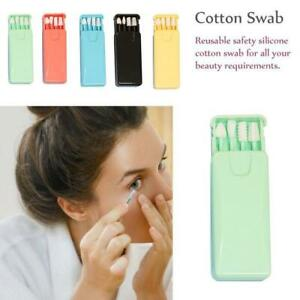 Hot Reusable Cotton Swab Ear Cleaning Cosmetic Silicone Buds Swabs Sticks
