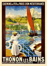 Thonon les Bains, 1900 Vintage French Travel Advertising Canvas Print 20x28