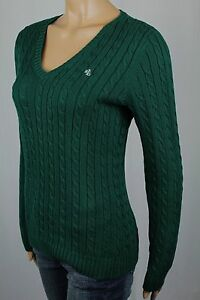 Ralph Lauren Green Cable Knit V-neck Sweater Cream LRL NWT