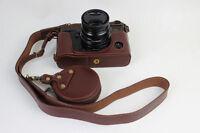 Genuine Leather Half Camera Bottom Case For Fujifilm Fuji X-Pro 2 Xpro 2 Coffee
