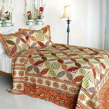 3 Pc Magic of Love country checks red purple green 100% Cotton Queen Quilt Shams