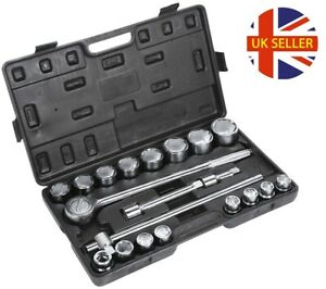 20pcs 3/4 Inch Drive Impact Socket Set 19-50mm + 20TG Spanner Metric Wrench