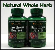 2X Puritans Pride HAWTHORN BERRIES 565 mg - 200 Capsules Whole Herb Heart Health