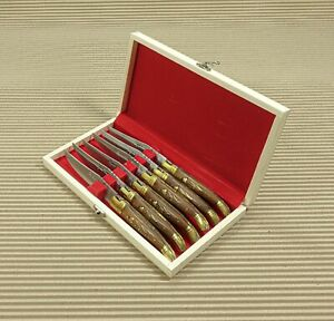 Set of 6 French Laguiole handle steak knives