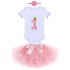 Baby Mädchen Erster 1. Geburtstag Party Kleidung Rosa Tutu Rock Stirnband Outfit