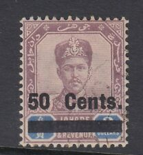 MALAYSIA - Johore SG56, 50c on $3 dull purple & blue, VERY FINE used. Cat £85.
