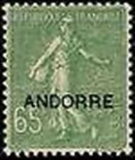"""ANDORRE FRANCAIS STAMP TIMBRE N° 16 """" SEMEUSE FOND LIGNE 65c OLIVE"""" NEUF xx LUXE"""
