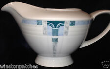 TRIPTIS THURINGEN GERMANY WHITE BLUE & GREY GEOMETRIC GRAVY BOAT 18 OZ