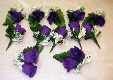 CADBURY PURPLE ROSES WEDDING BRIDE BUTTONHOLES PACKAGE 10 SINGLES & 2 DOUBLES