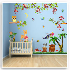 Monkey Wall Stickers Owl Animal Jungle Zoo Nursery Baby Kids Bedroom Decal Art