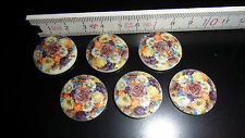 6 Cabochon Steine Brosche DIY Blumenstrauß bunt Ringelblume 25mm Deko Schmuck