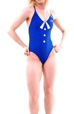 Wildfox Women's  Clear Skies One Piece Swimsuit Blue White RRP £111 BCF65