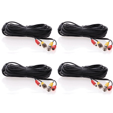 4 lot 20ft Security Camera Cable CCTV Video Power Wire BNC RCA Black Cord DVR