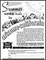 1938 Rock Island lines Arizona California exposition vintage art Print Ad adL44