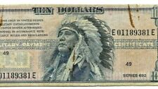 """$10 """"SERIES 692"""" (INDIAN CHIEF) RARE!! $10 """"MILITARY PAYMENT CERT."""" SERIES 692""""!"""