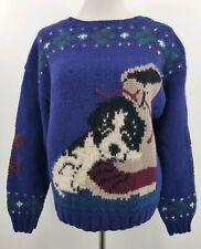 Vintage Woolrich Wool Sweater Dog Bean Boot Navy Blue Womens Medium