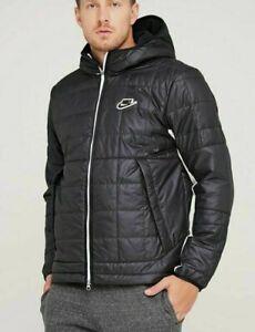 Men's Nike NSW Thermore Fleece Jacket Black White NWT Rare CU4422-070 Size L