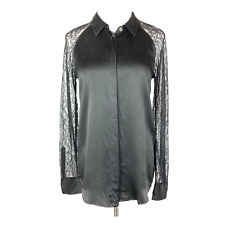 Equipment Femme Size S Quinn Silk Blouse Lace Sleeves Black *Minor Flaw