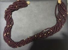 Multistring Amethyst Bead Necklace, Red/Gold