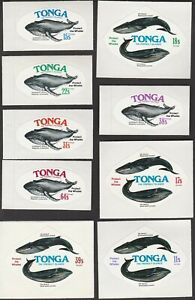 TONGA 1977 SELECTED FREEFORM WHALE CONSERVATION STAMPS INCLUDING AIRMAILS