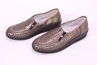 C838 Leve Damen Schuhe Slipper Leder Bronze Gr. 36 Lochmuster Keilabsatz neu