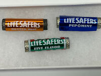 Vintage 80s Lot Of 3 Metal Life Safers Pins Butter Rum Pepomint 5 Flavors Savers