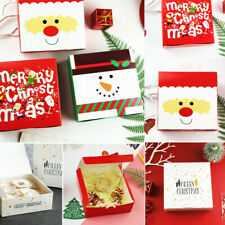 10PCS Christmas Gift Boxes Party Favours Sweet Biscuit Candy Treat Pack Paper UK