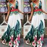 Womens Boho Floral Sleeveless V-Neck Maxi Dress Summer Beach Party Long Sundress