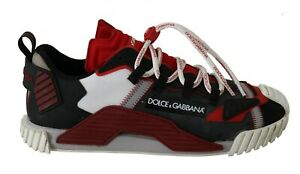 DOLCE & GABBANA Shoes Sneakers Red Black Leather Logo Print Mens s. EU44 / US11