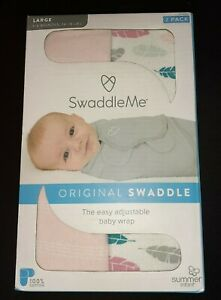 2 Pack SwaddleMe Original Swaddle 100% Cotton, Pink, Size Large (3-6 months)