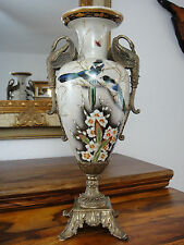 Luxus Jugendstil Blumenvase Porzellan Bronze Edel Pokal Amphore Prunk Vase Antik