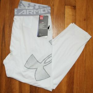Under Armour HeatGear Leggings Youth XL 1289963-101 White Grey Fitted New