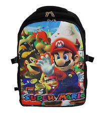 "16"" Student Backpack School Book Bag Super Mario BOWSER WARIO DONKEY KONG Black"