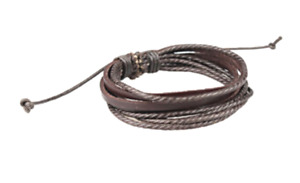 Men's Adjustable Rope Wristband-Brown