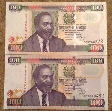 2 X Kenya Banknotes. 100 Shillings. Unc. Picks 48a & 48b.