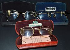 3 Awesome 12K Gold Filled Antique Eyeglasses Combo & Cases 2 w/Optometrist Name
