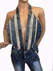A7 Women's Romper Jeans Jumpsuit Skinny Embellished Swarovski Crystal Overalls
