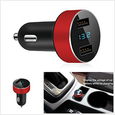Dual USB Car Charger LED Display Voltage and Current for iPhone Samsung Galaxy/s
