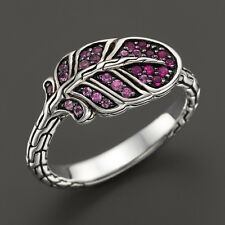 John Hardy Classic Chain Silver Lava Slim Feather Ring Mixed Pink Sapphire Sz 7